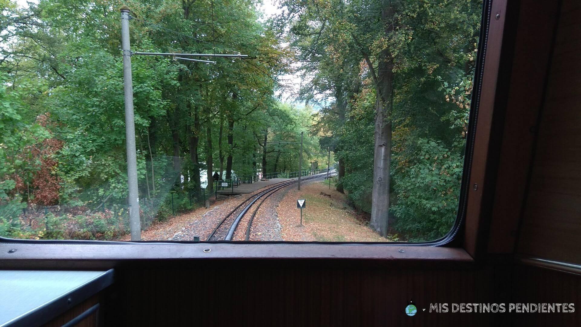 Subida en el Drachenfelsbahn (Königswinter, Alemania)